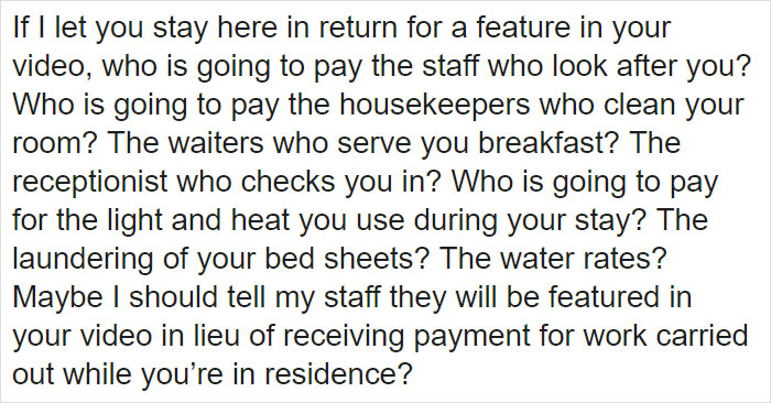 Influencer asking for free stay